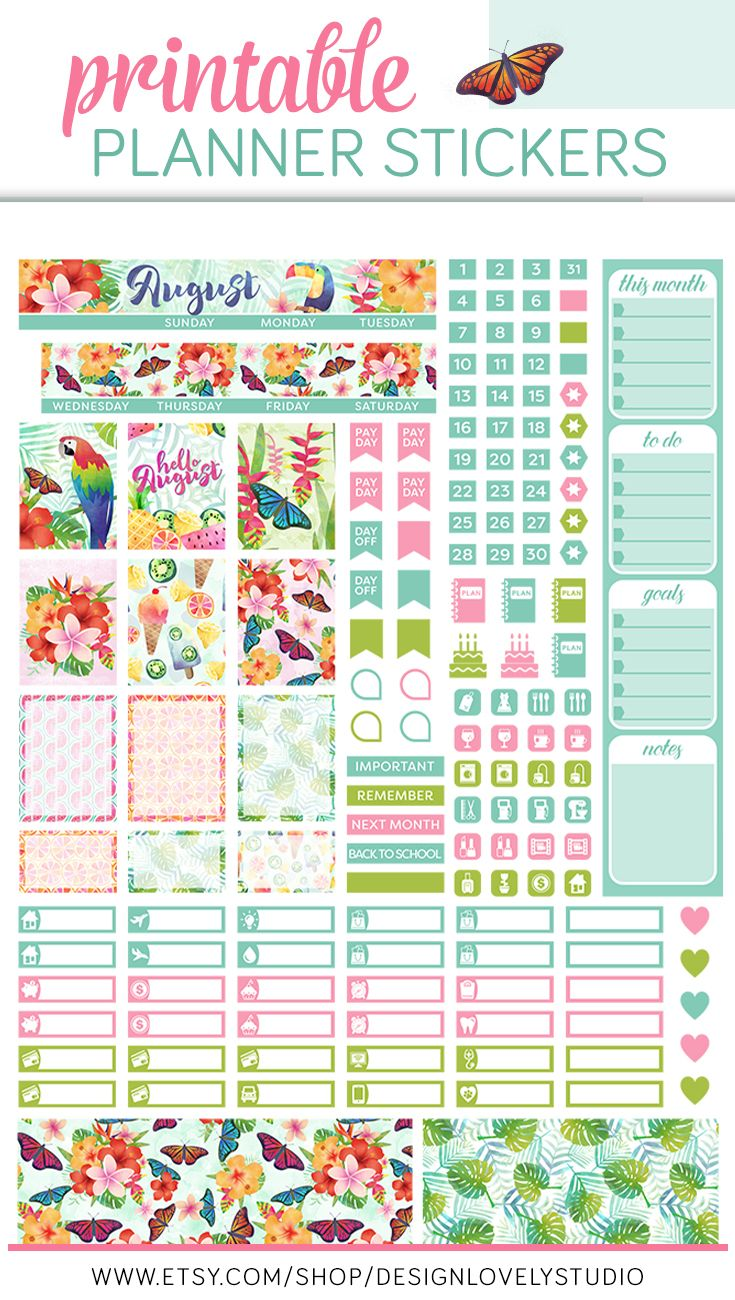 August Mini Happy Planner, August Monthly Happy Planner
