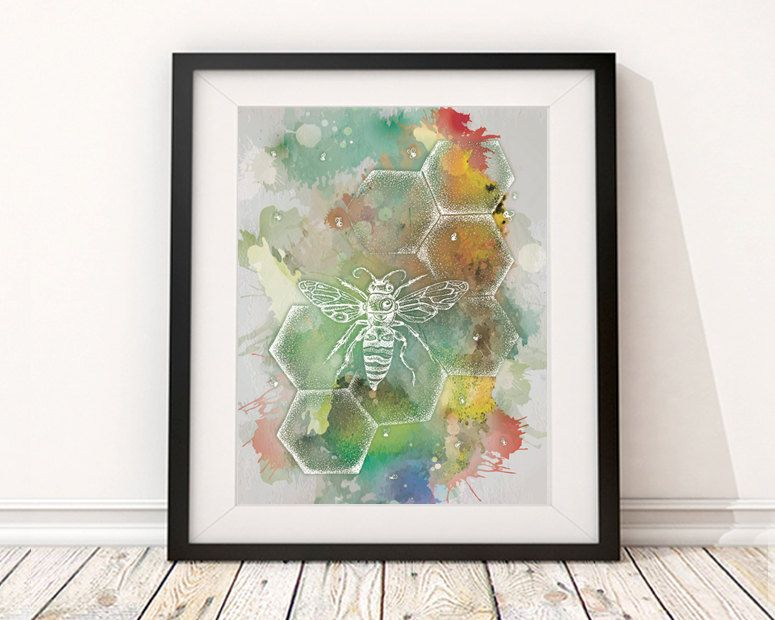 Bee Illustration Boho Chic Print Honey Comb Wall Decor Hippie Digital Download Bohemian Art Printable