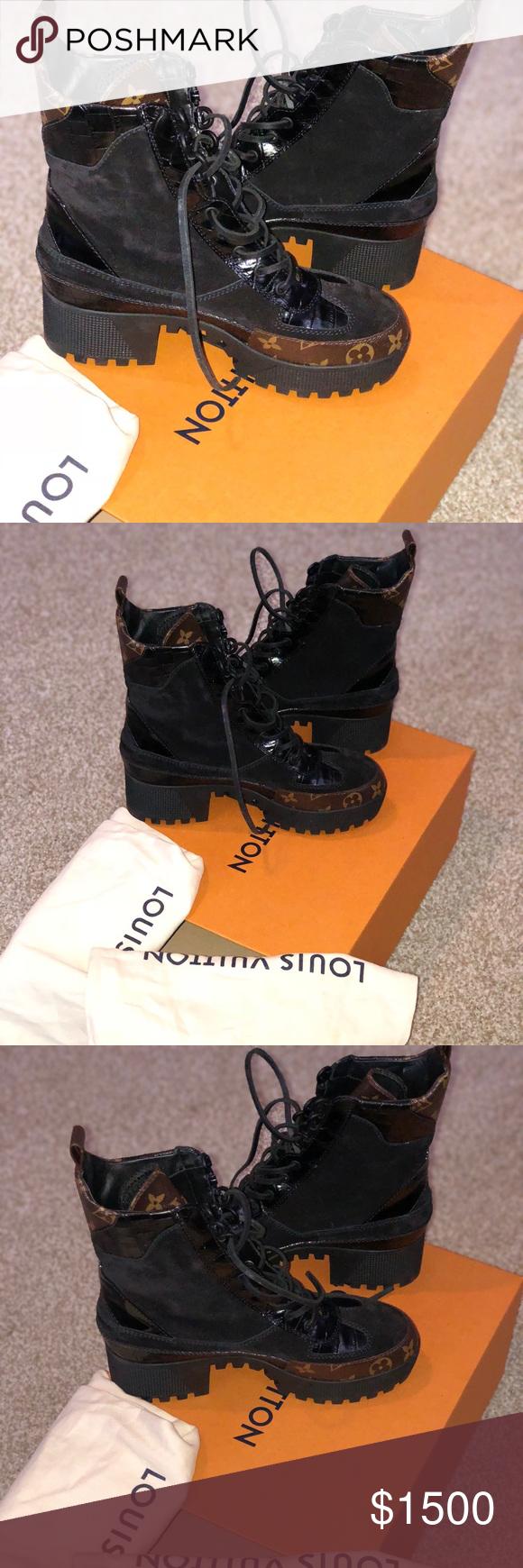 53d8433b5e79 Louis Vuitton Black and Brown Laureate Desert Boot Women s Louis Vuitton  Black and Brown Laureate Platform Desert Boots Size 39 Louis Vuitton Shoes  Combat ...