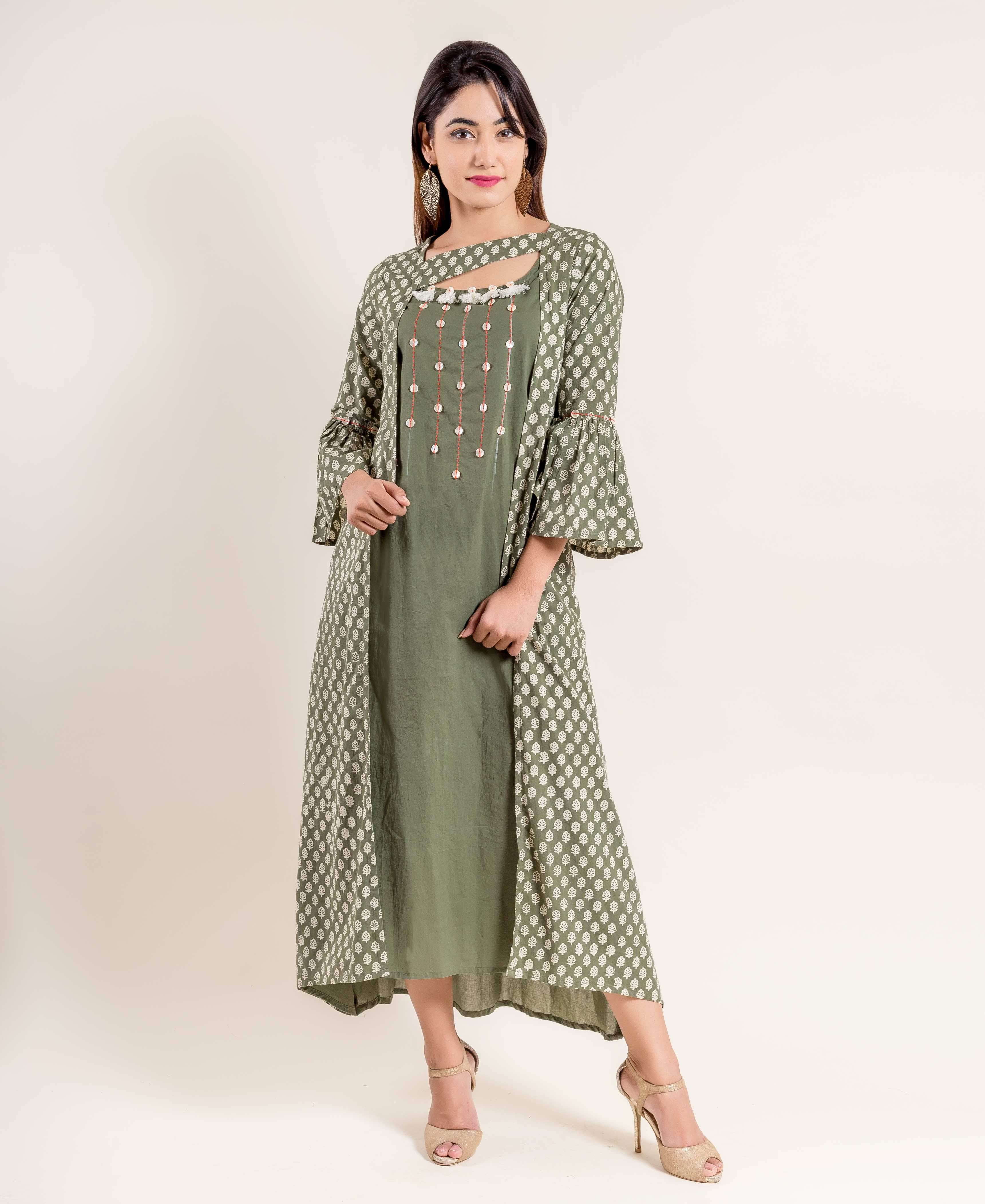 295542eb0f9e Create your own exclusive and fashionable high class dressing with this  flawless seaweed green / white hand block print indo western dress.