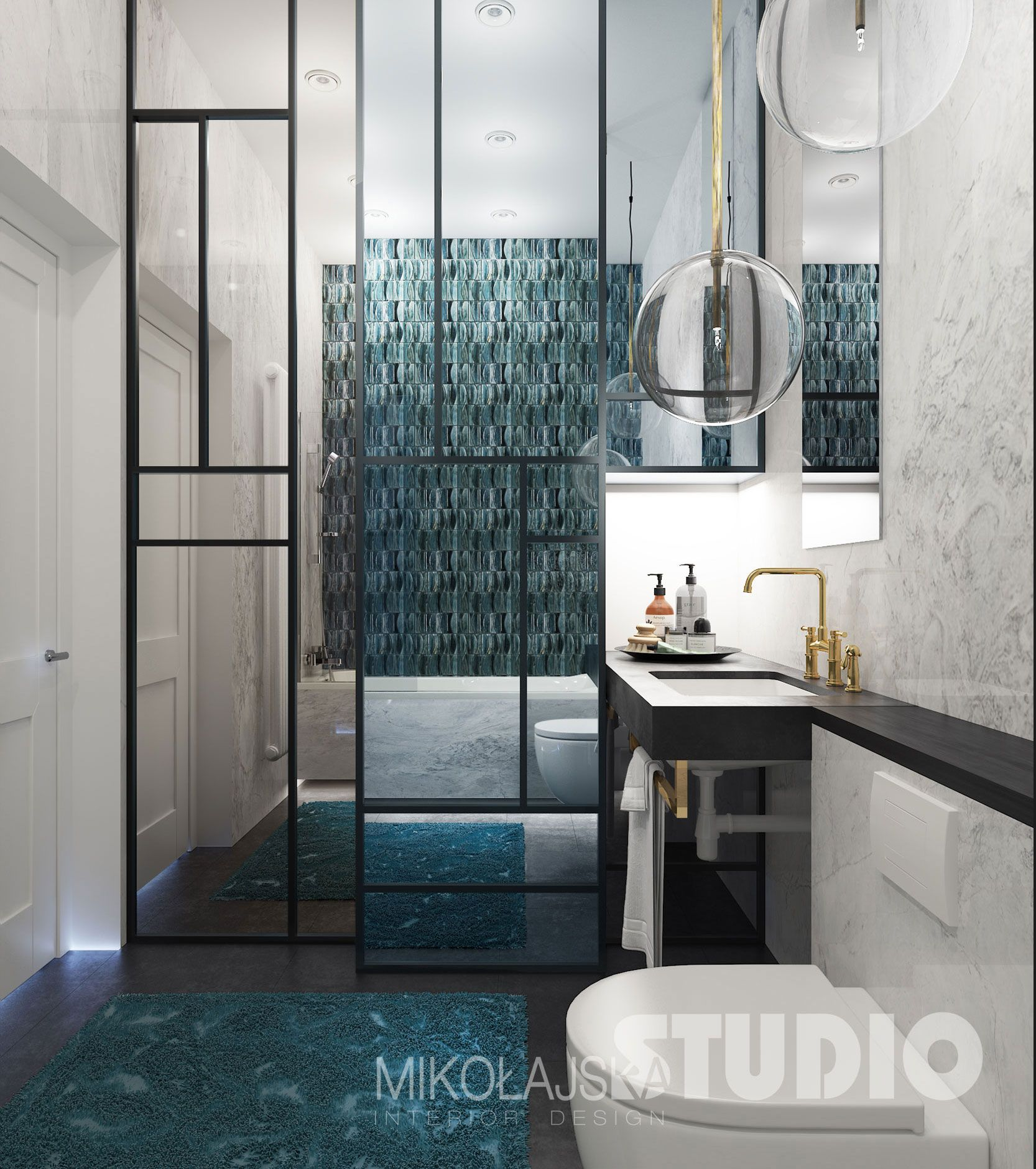 Turkus W Lazience Tropical Modernism Bathroom Art Deco Bathroom