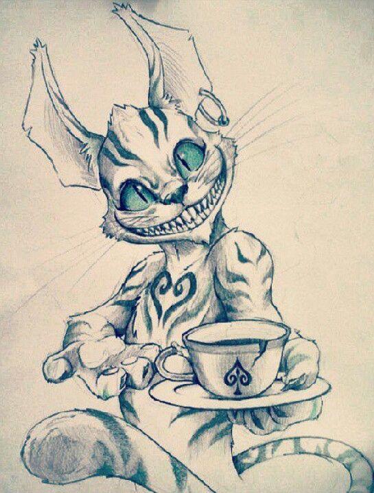 Cheshire Cat Art Sketches Graffiti Drawing Horror Art