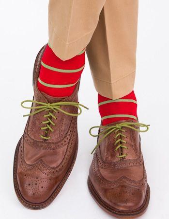 Dapper Classics Red with Green Stripe Sock
