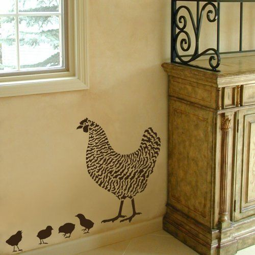 Dominique Chicken Stencil 2 Overlays - Easy wall Decor with Stencils ...