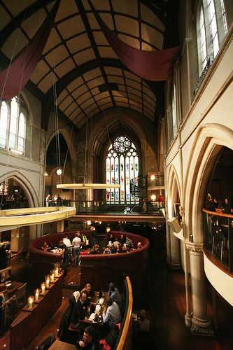 Pitcher & Piano Bar, Nottingham, England. This most awesome bar inside the former Unitarian High Pavement Chapel (a rather modest moniker since it's Cathedral-sized) appeals to the fallen Catholic in me like words can't express! Built in 1876, it was deconsecrated in 1982 and opened as a public house after a failed museum attempt. From the stained glass windows to the spiral-staired two-story pulpit...I am DYING to have some drinks and burgers here!