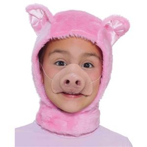 Pig Hood & Nose Child Set #scarecrowcostumediy
