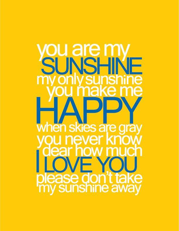 You Are My Sunshine - Baby Nursery Printable Wall Art #typography ...