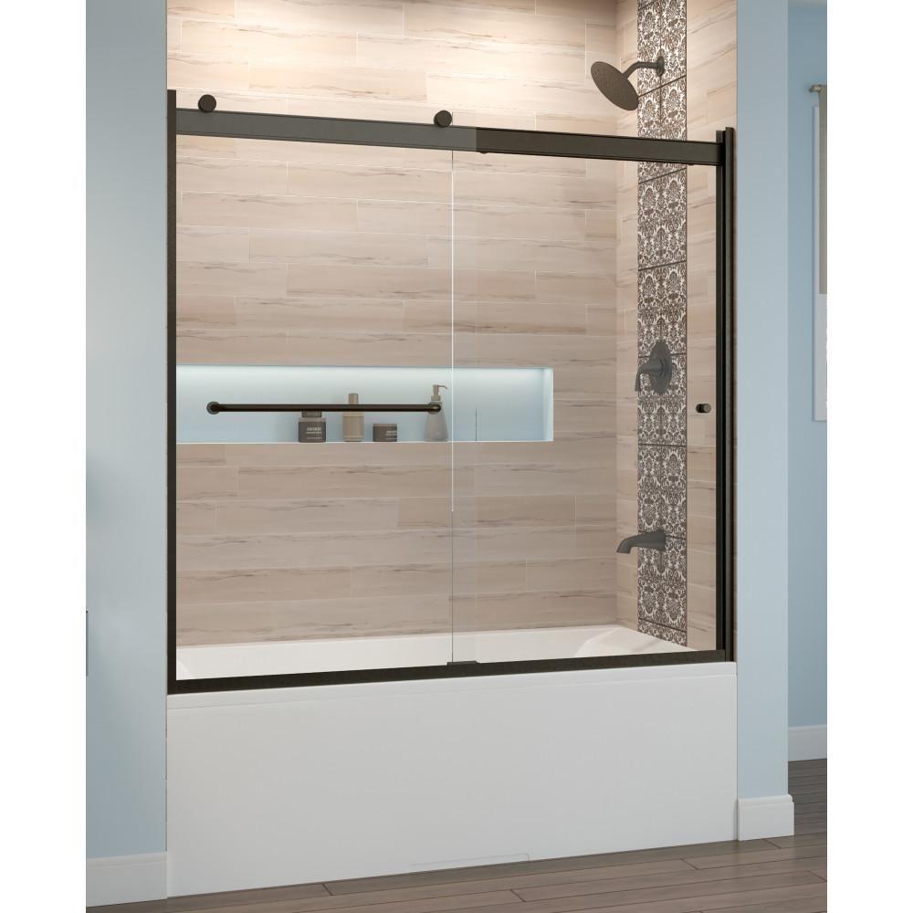 Basco Rotolo 60 In X 57 In Semi Frameless Sliding Tub Door In Oil Rubbed Bronze With Handle Bathtub Doors Shower Doors Tub