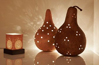 glowing seasonal lights - perfect use for gourds