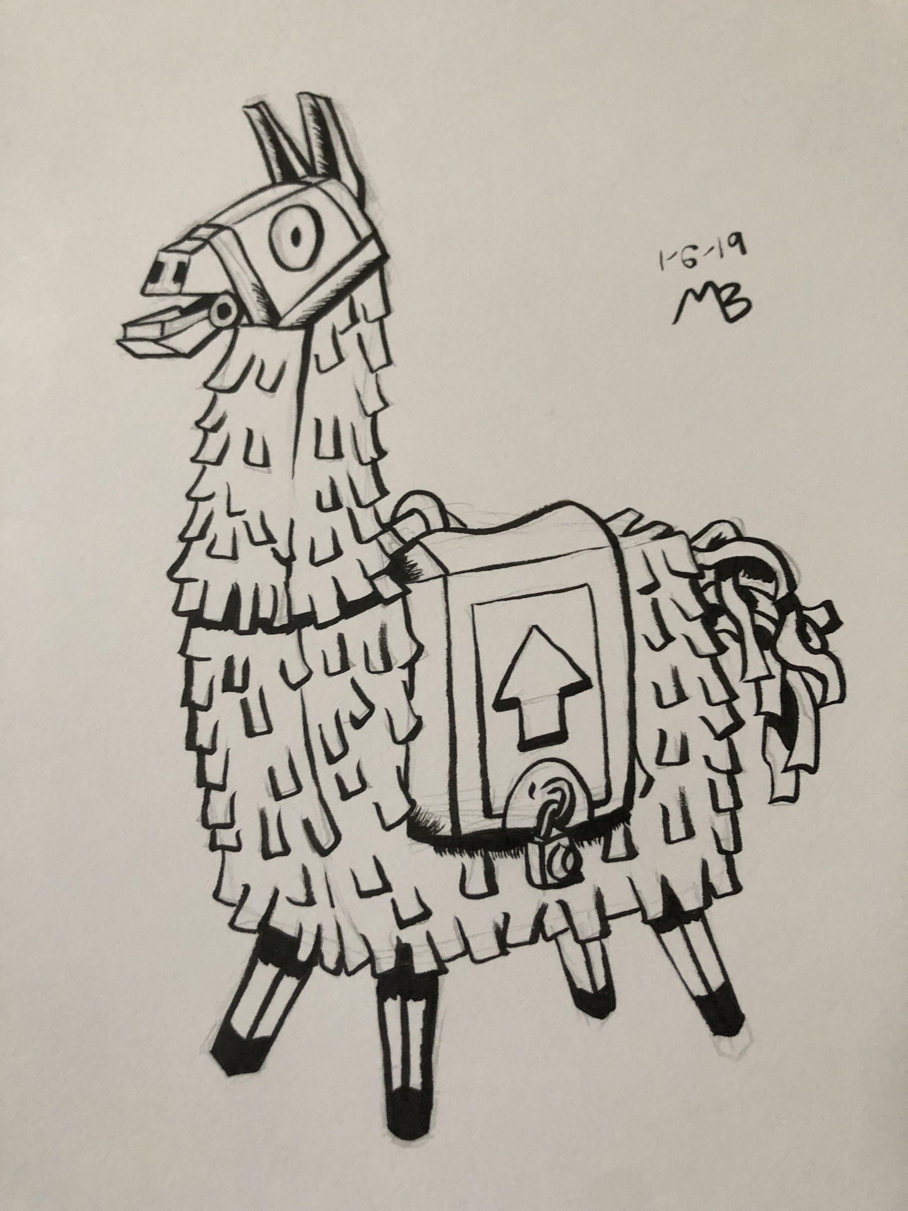 llama piñata from fortnite  doodle drawings llama