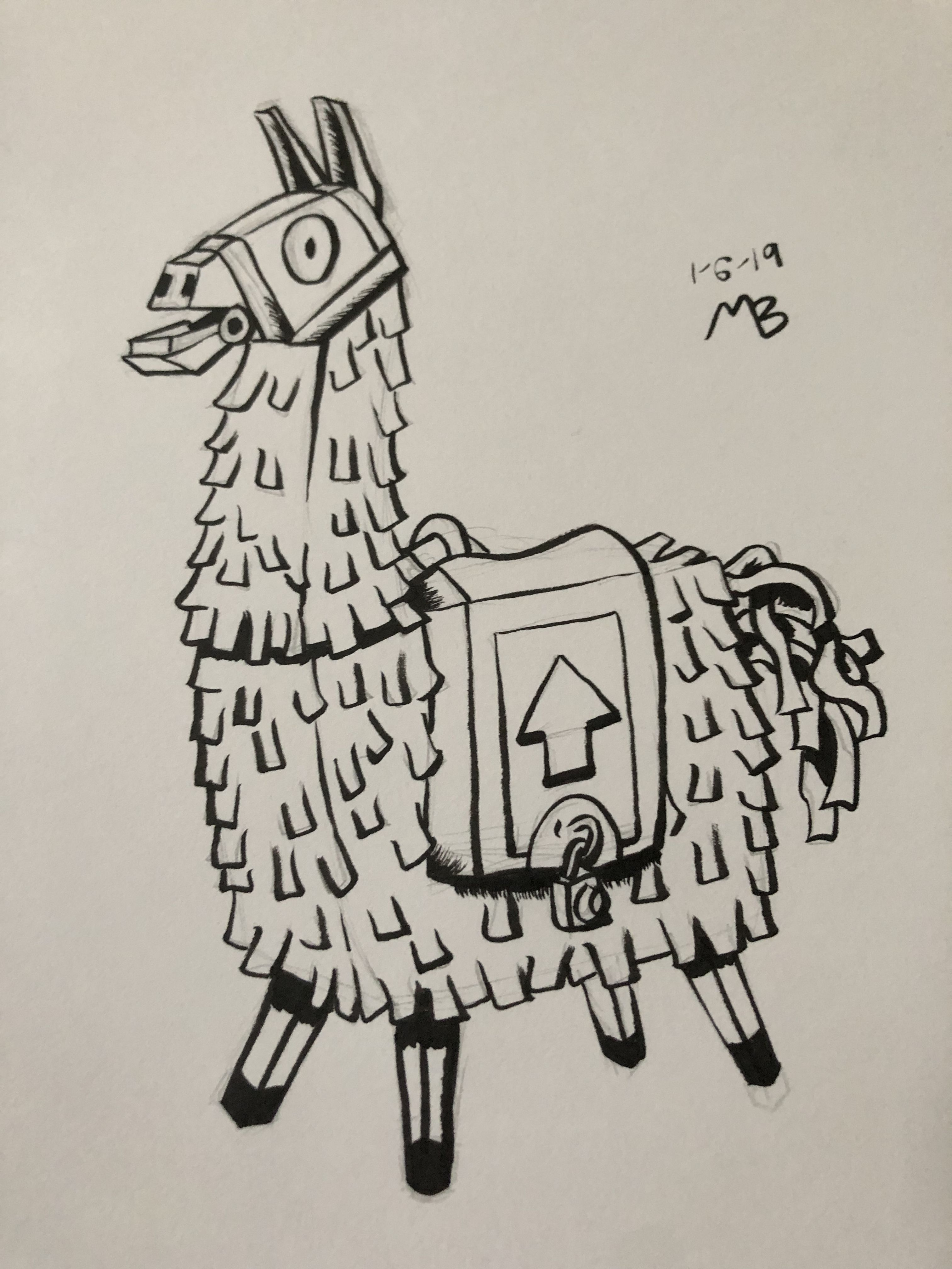 Llama Pinata From Fortnite Llama Drawing Doodle Drawings