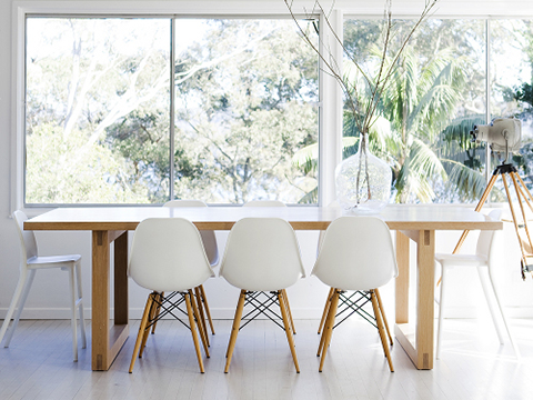 Molded Plastic Dining Chairs modern organic dining room | herman miller eames molded plastic