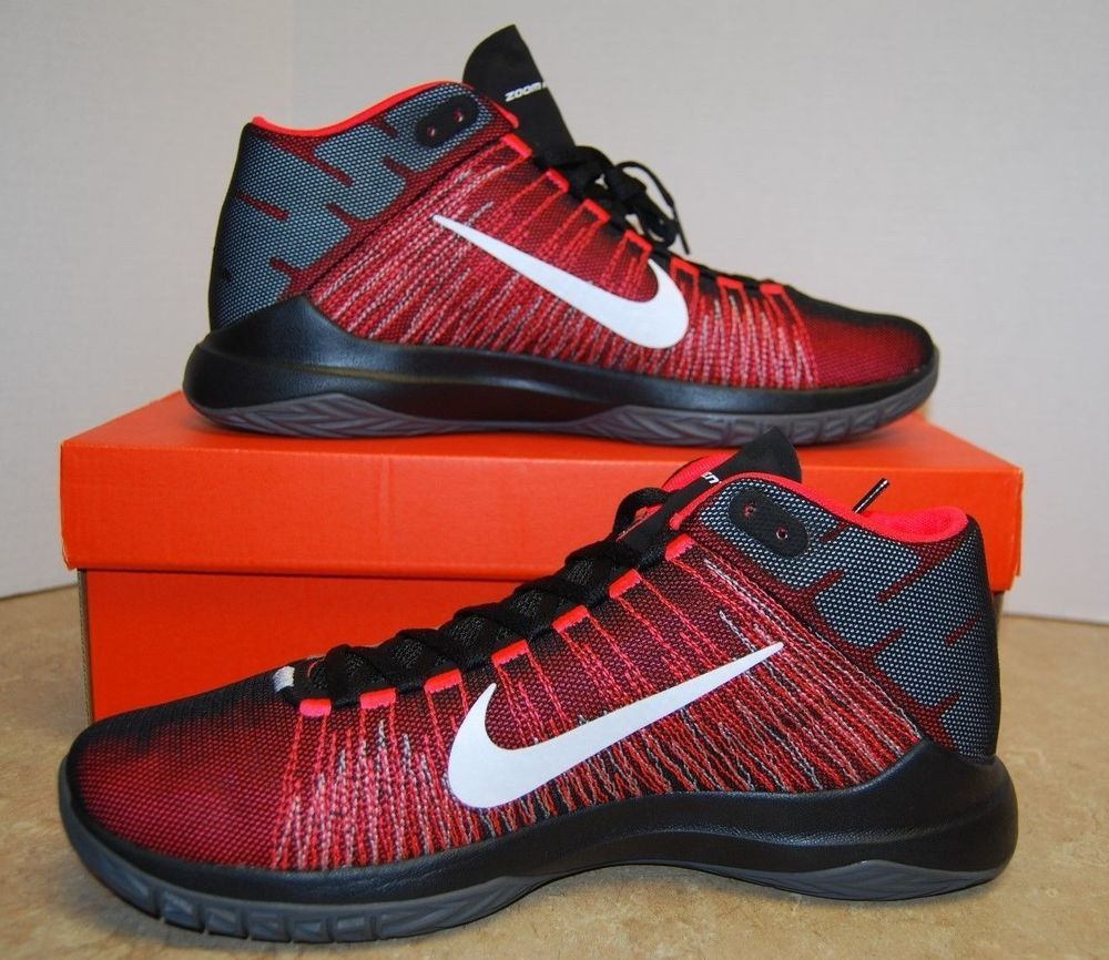 9bf940bea551d1 Nike Men s 9.5 Zoom Ascention Basketball Shoes 832234 003 Black White  Crimson  Nike  BasketballShoes