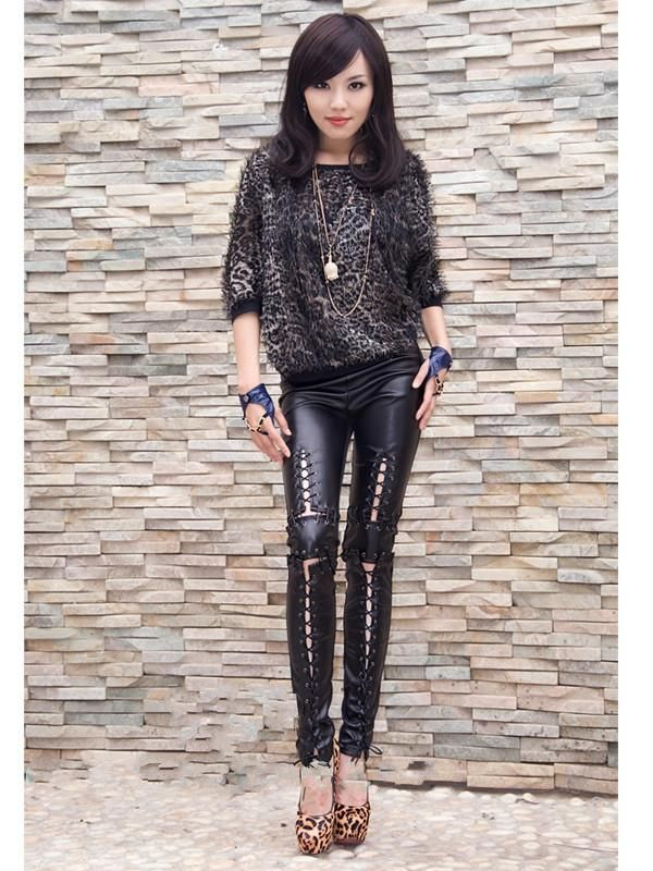 Faux Leather Women Long Pants Laced Up Punk Leggings Heavy Metal tight trousers
