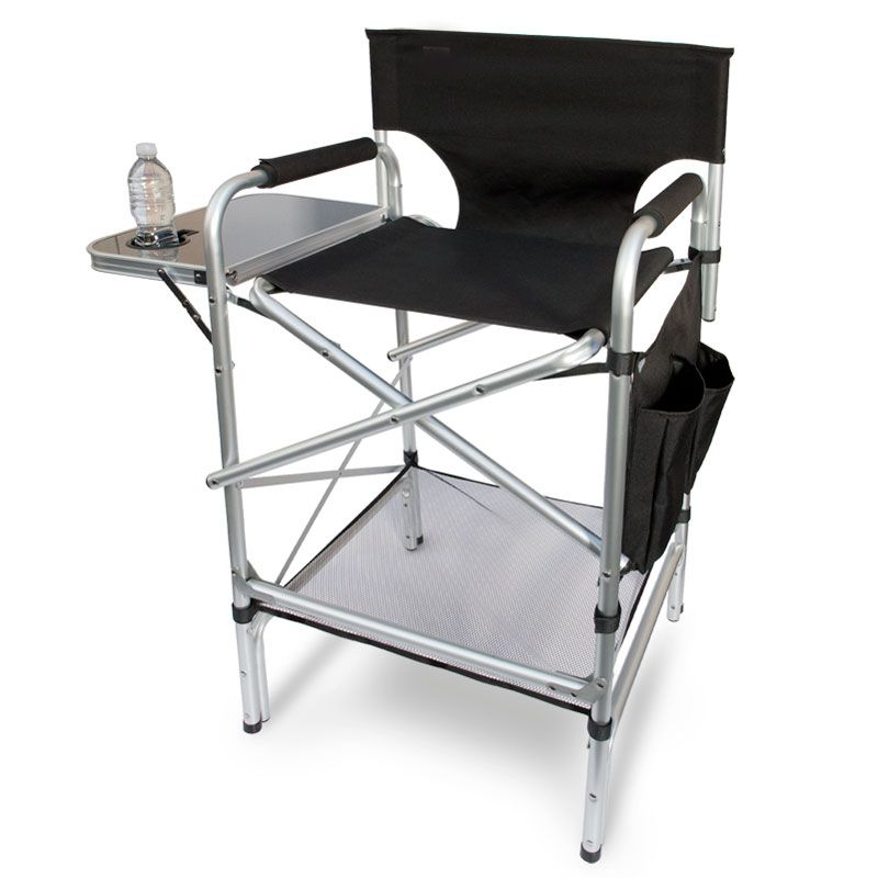 Heavy duty bar height aluminum directors chair with table
