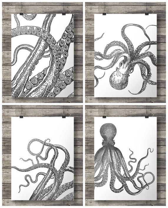 Octopus prints black white tentacles kraken nautical art set of four printable wall art octopus art prints kraken print vintage ocean
