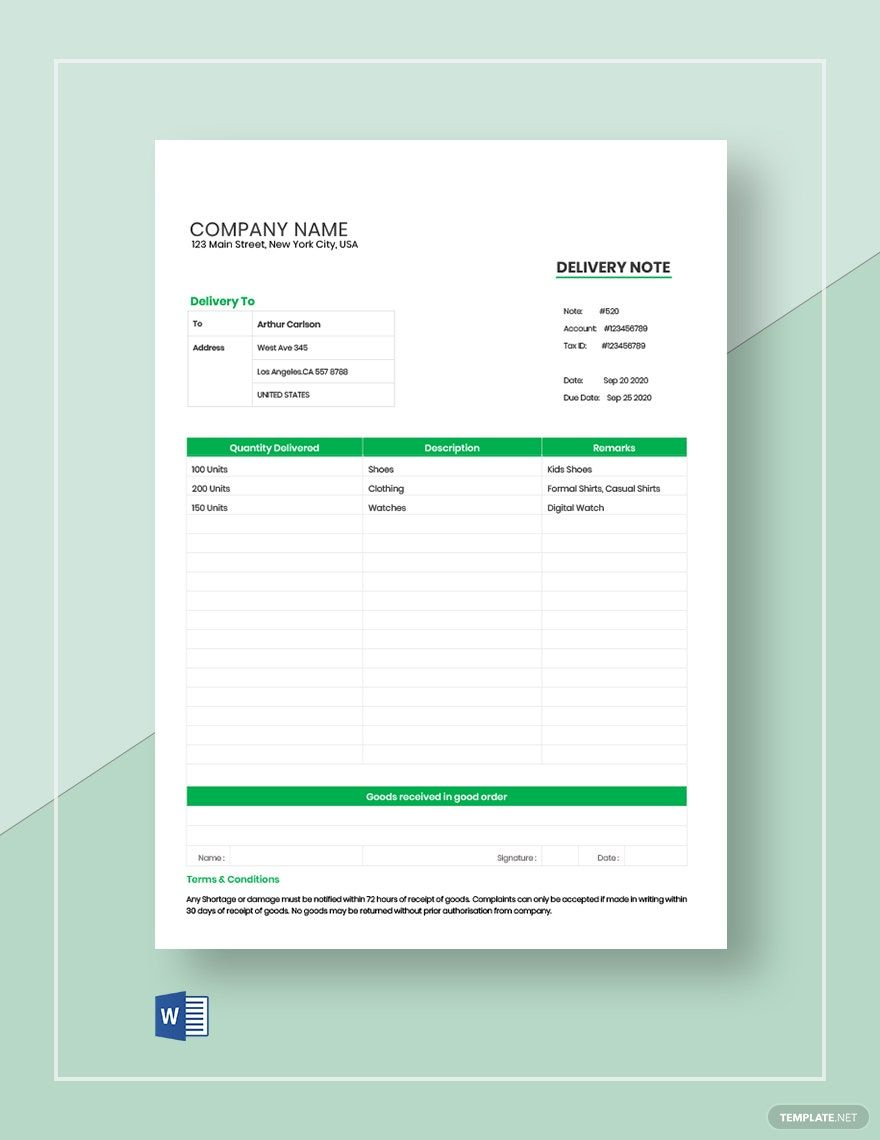 Order Delivery Note Template Free Pdf Word Doc Notes Template Letter Template Word Business Card Mock Up