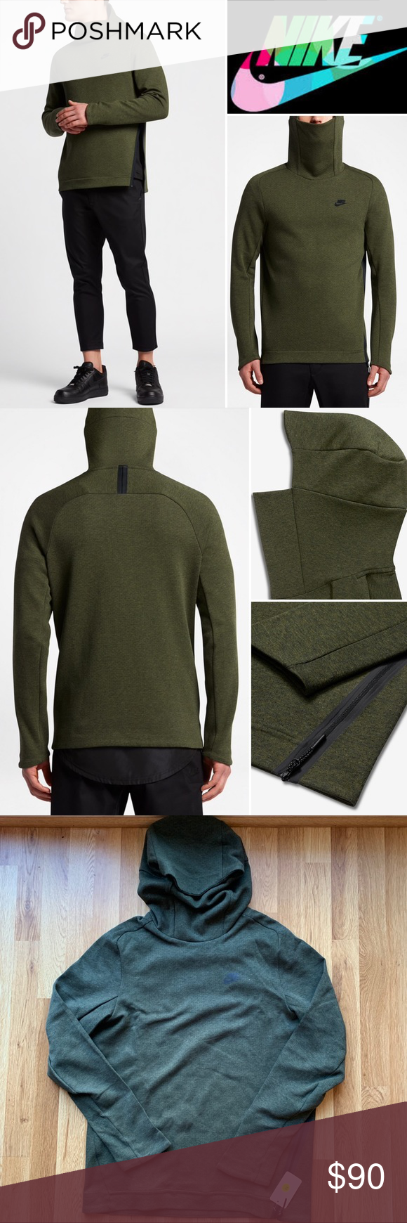 497204f27a6a Nike Sportswear Tech Fleece Funnel Hoodie Medium Color  Legion Green Size   Medium Feel and