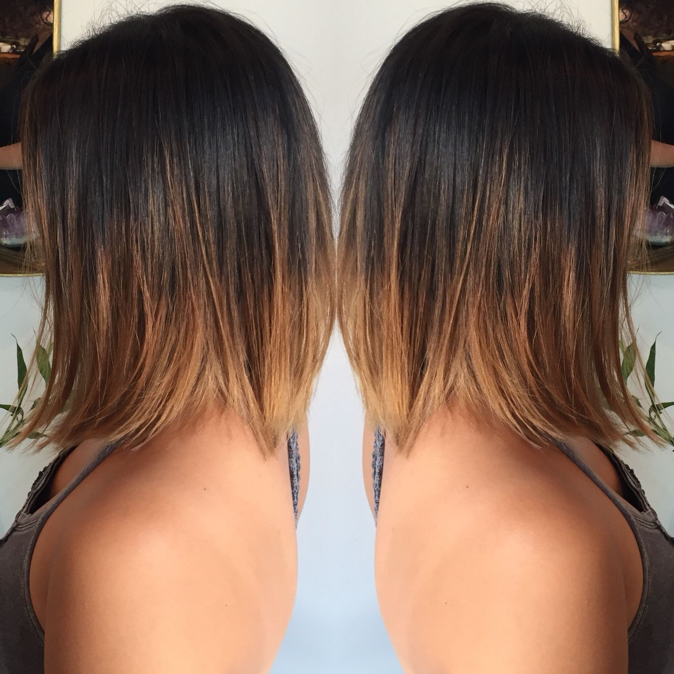 Brunette Balayage Ombre On Asian Hair Slightly Aline Bob Haircut