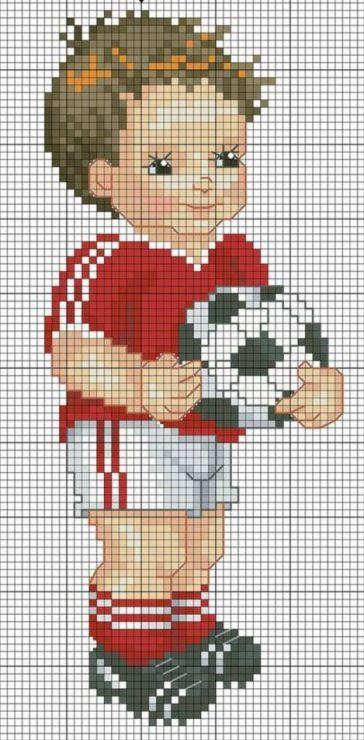 Bebé en punto de cruz. Fútbol. E2RP