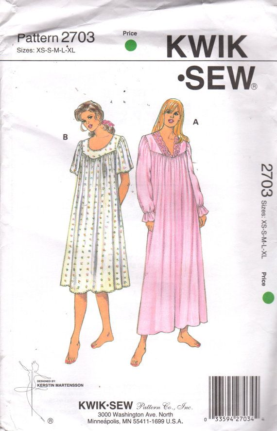 5da722a3a2 Kwik Sew 2703 Misses Easy Nightgown Pattern V Neck or Scoop Neck Womens  Vintage Sewing Pattern Siz