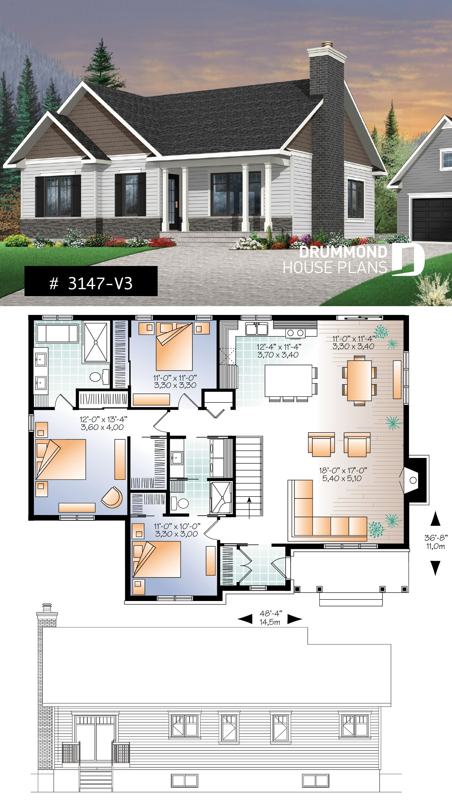 Discover The Plan 3147 V3 Bradley 3 Which Will Please You For Its 3 Bedrooms And For Its Rustic Styles Bungalow House Plans New House Plans Barn House Plans