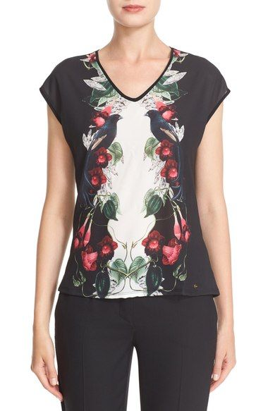 e85c0af04 TED BAKER  Bejewelled Shadows  Print Front V-Neck Tee.  tedbaker  cloth