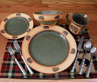 Rustic Bear Dinnerware Set - will be a great addition to your rustic table at your home or cabin. This speckled green stoneware pottery dinnerware set ... & Rustic Bear Dinnerware Set | Cute home items | Pinterest ...