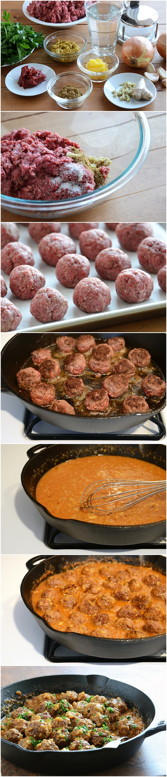 Lamb Meatballs in a Spicy Curry- Ingredients: 1 pound Lamb Mince - 1 Tablespoon Ground Cumin - 1 Tablespoon Grated Fresh Ginger - 1 teaspoon Salt - 2 Tablespoons Butter Or Ghee - 1 Large Onion, Peeled And Finely Diced -  4 cloves Garlic, Peeled And Crushed - 4 Tablespoons Madras Paste - 1 cup, 4 tablespoons, ¾ teaspoons, 1 pinches Boiling Water - 2 Tablespoons Tomato Paste - ½ cups Coriander Leaves, Roughly Chopped