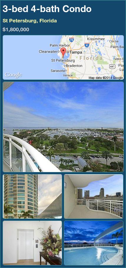 3bed 4bath Condo in St Petersburg, Florida 1,800,000