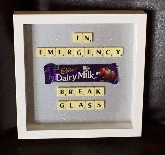 emergency chocolate scrabble frame 9 x 9 by word4wordbysonni art stier pinterest zuhause. Black Bedroom Furniture Sets. Home Design Ideas