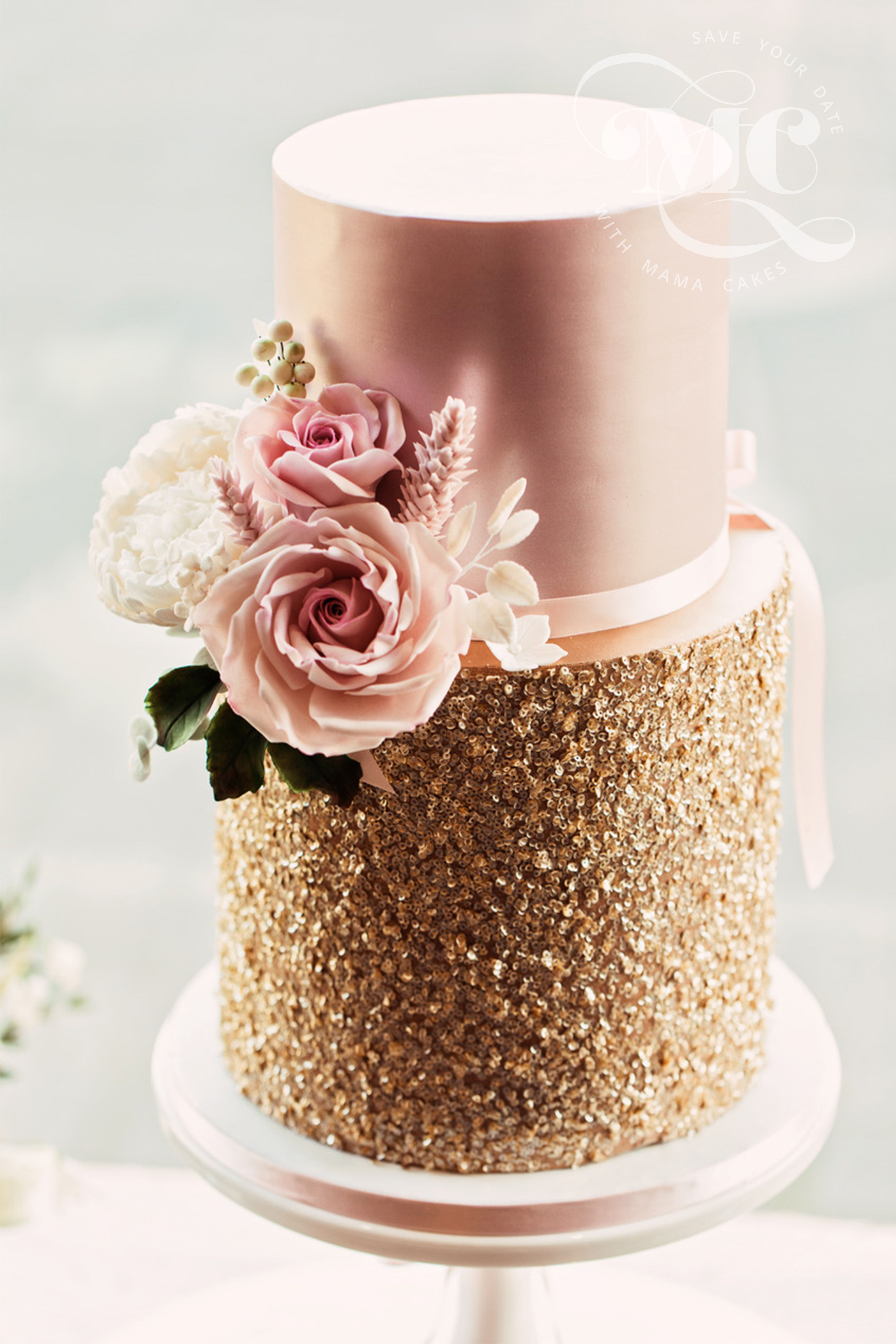 Blush Pink And Gold Sequins Wedding Cake By Mama Cakes Cumbria Wedding Cake Maker Uk Wedding Cakes Gold Wedding Cake