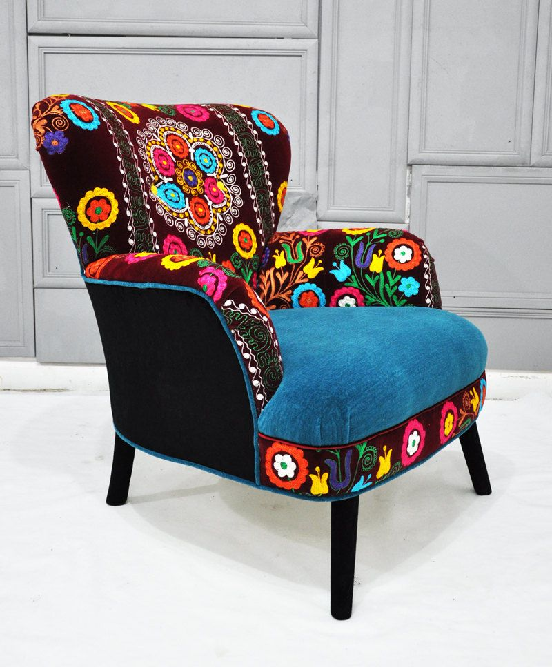 Patchwork Armchair With Suzani And Turquoise Velvet Fabrics