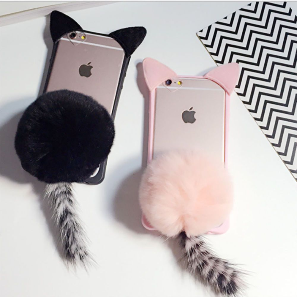 3d Touch Fluffy Cat Kitten Tail Super Cute Phone Case For Iphone 5 66s 7 8 Plus Unbrandedgeneric Forros Para Celulares Fundas Moviles Carcasas