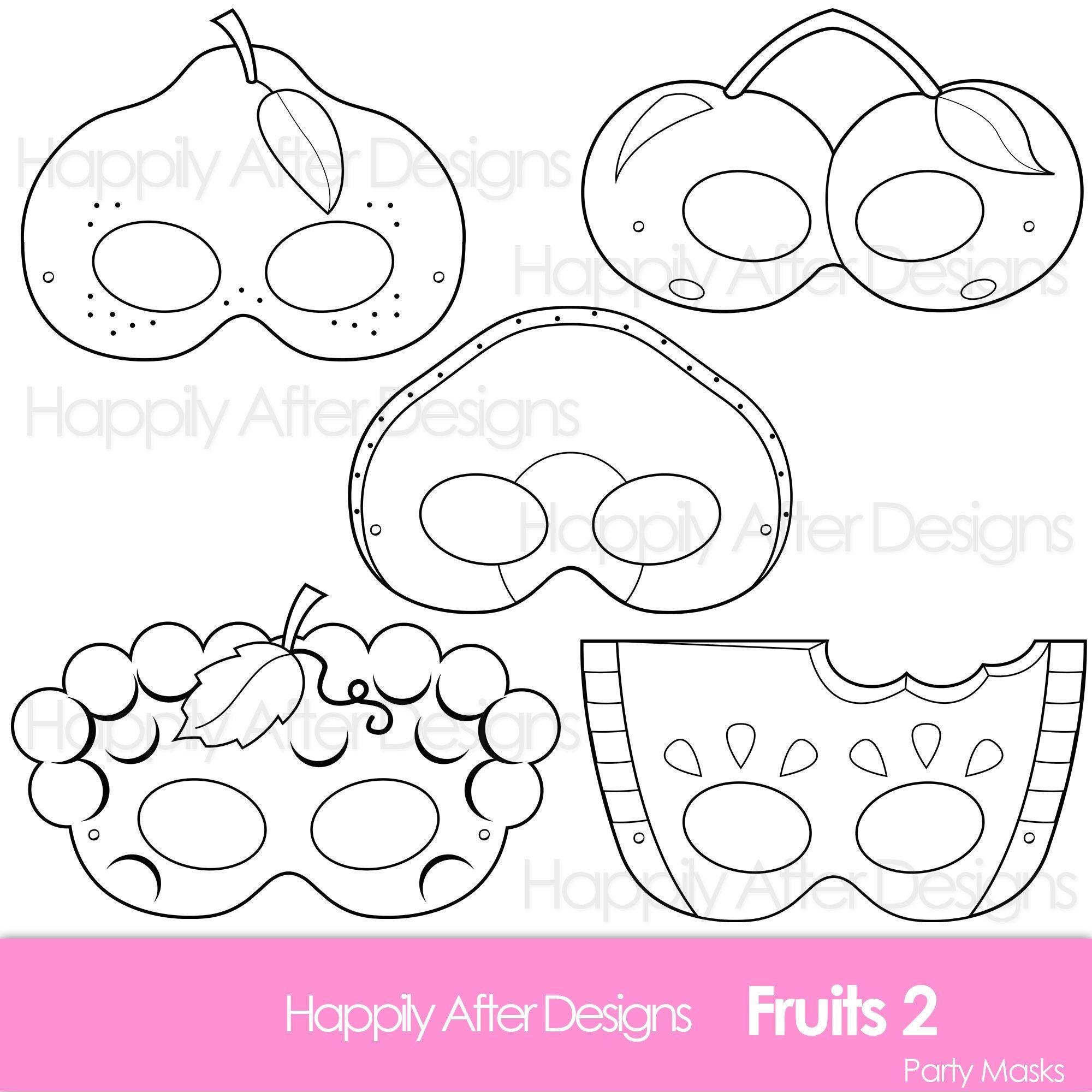 Fruits 2 Printable Coloring Masks Avocado Mask Cherry