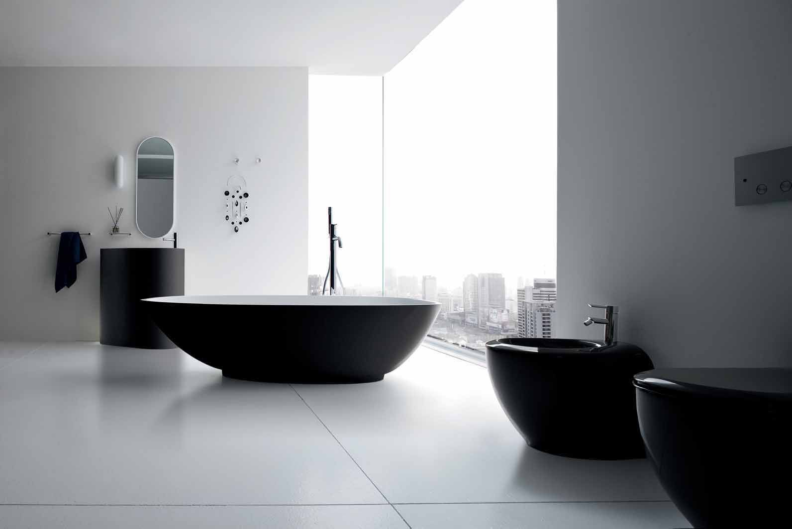 all black bathroom interior decorating ideas modern decoration  - excellent refine black and white sanitary ware for modern bathroom – velaby rexa design  refine black and white sanitary ware with bathtub