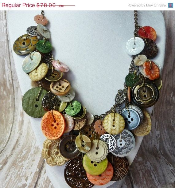 SALE Bountiful Buttons - Vintage Button Necklace,Statement,AWARD WINNING,Green/Coral/Pearl/Ivory Buttons on Brass Chain,Repurposed