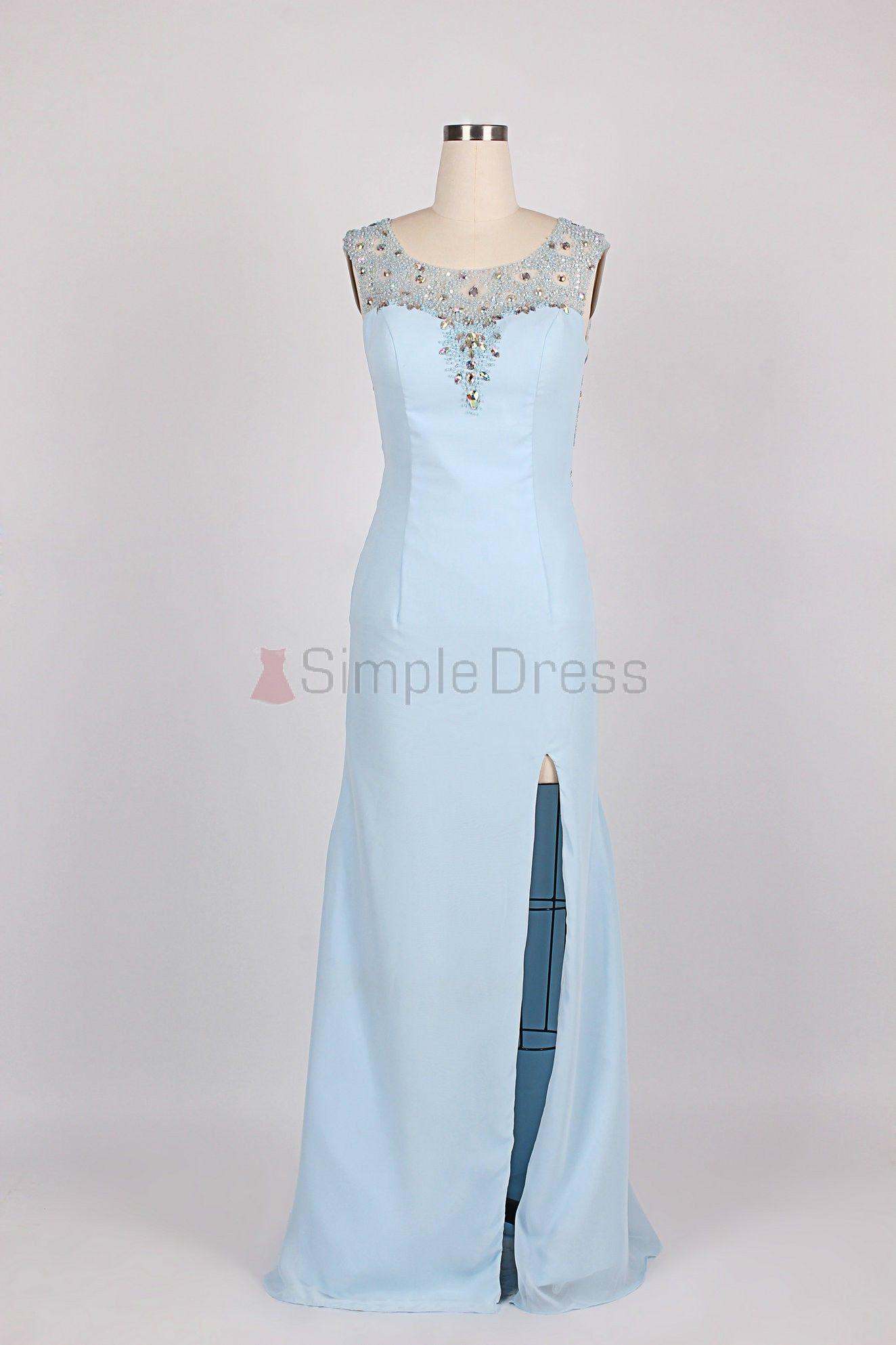 Simple dress new beading scoop side slit openback long chiffon prom