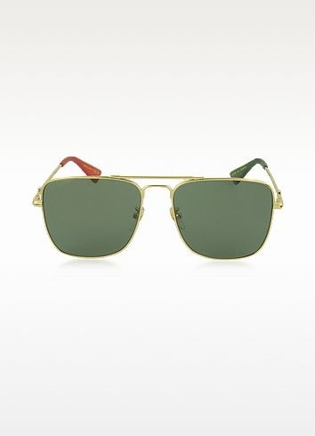 45d6840422 GUCCI .  gucci  gg0108s gold metal square aviator men s sunglasses ...