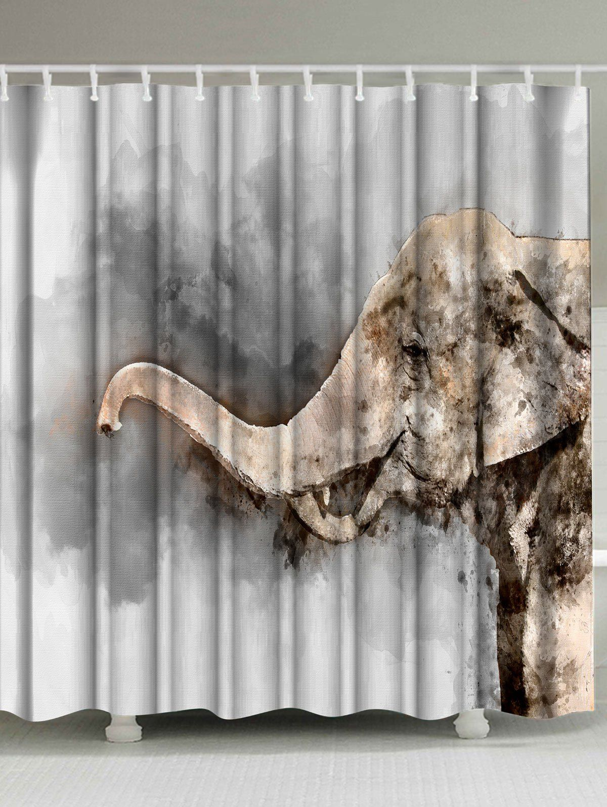 Watercolor elephant mildewproof shower curtain watercolor gray