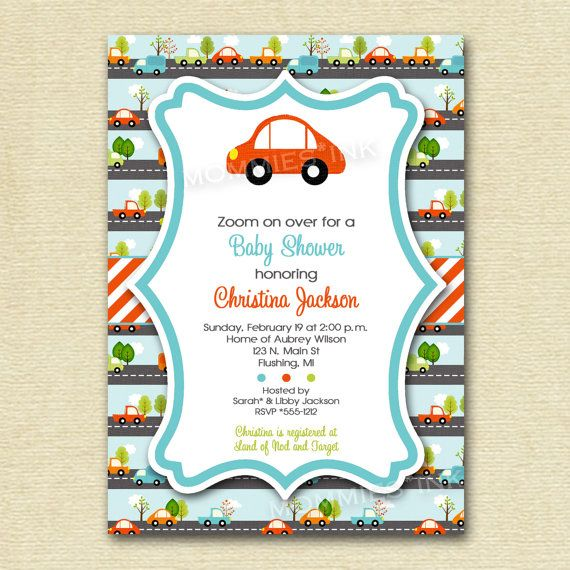 Car Baby Shower Invitation Transportation Baby Shower Invitation