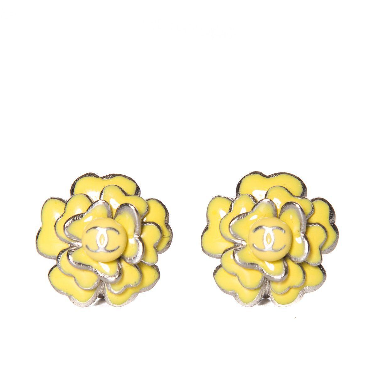 Chanel Yellow Camellia Flower Earrings Camellia Flower Flower Earrings Camellia