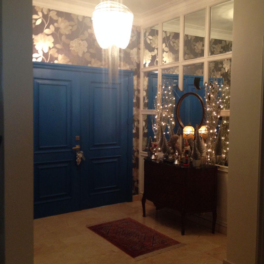 Xmas entrance hall decorations blue door