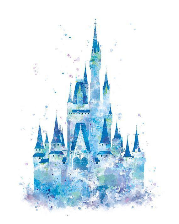 a3fa4691e Cinderella Castle Print, Watercolor Princess Castle, Disney Castle Print,  Disney Gift, Baby Nursery