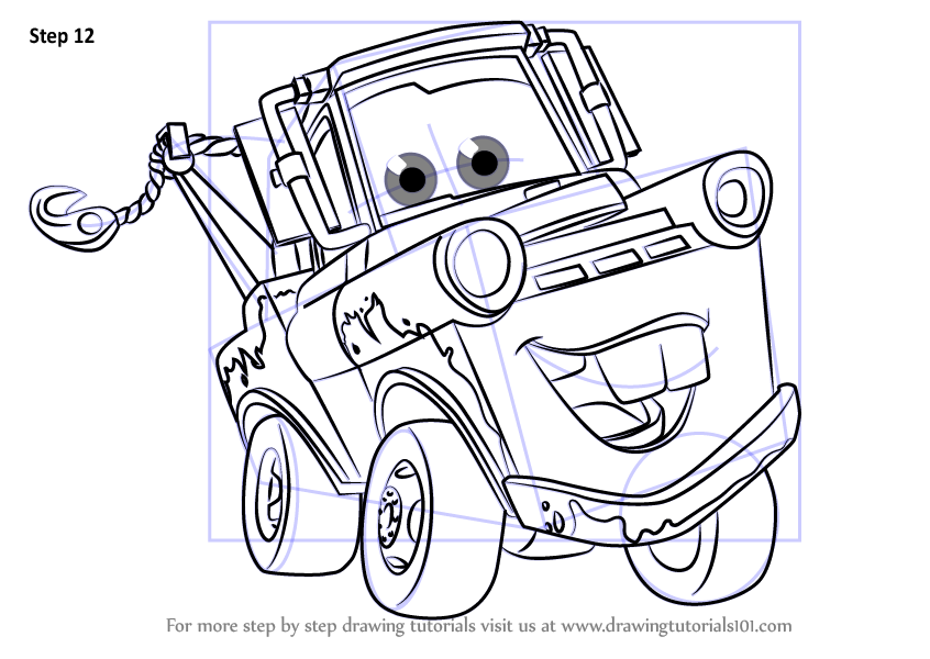 Learn How To Draw Tow Mater From Cars 3 Cars 3 Step By Step Drawing Tutorials In 2020 Cars Coloring Pages Truck Coloring Pages Disney Coloring Pages