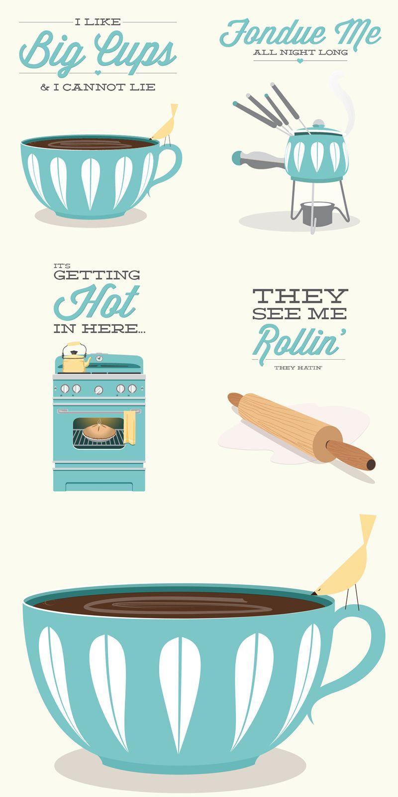 Coffee tea print typography i like big cups x poster wall art