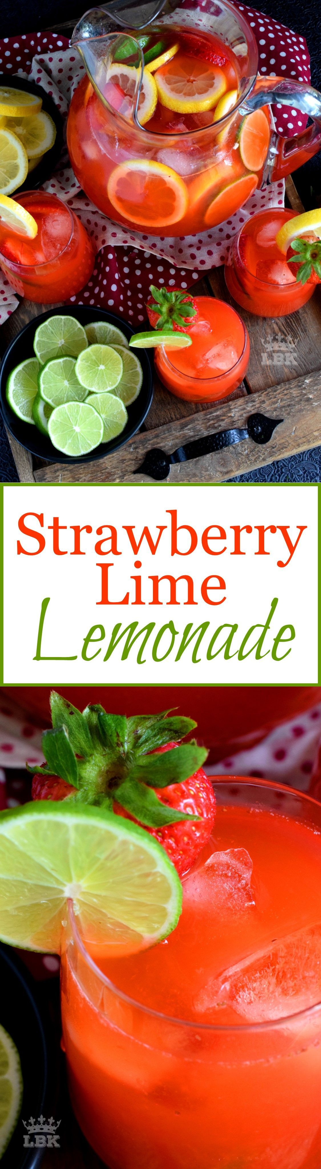 Strawberry Lime Lemonade - A refreshing summer drink made with simple syrup, whole strawberries, lime and lemon juice. Plain lemonade cannot beat this! Strawberry Lime Lemonade - A refreshing summer drink made with simple syrup, whole strawberries, lime and lemon juice. Plain lemonade cannot beat this!
