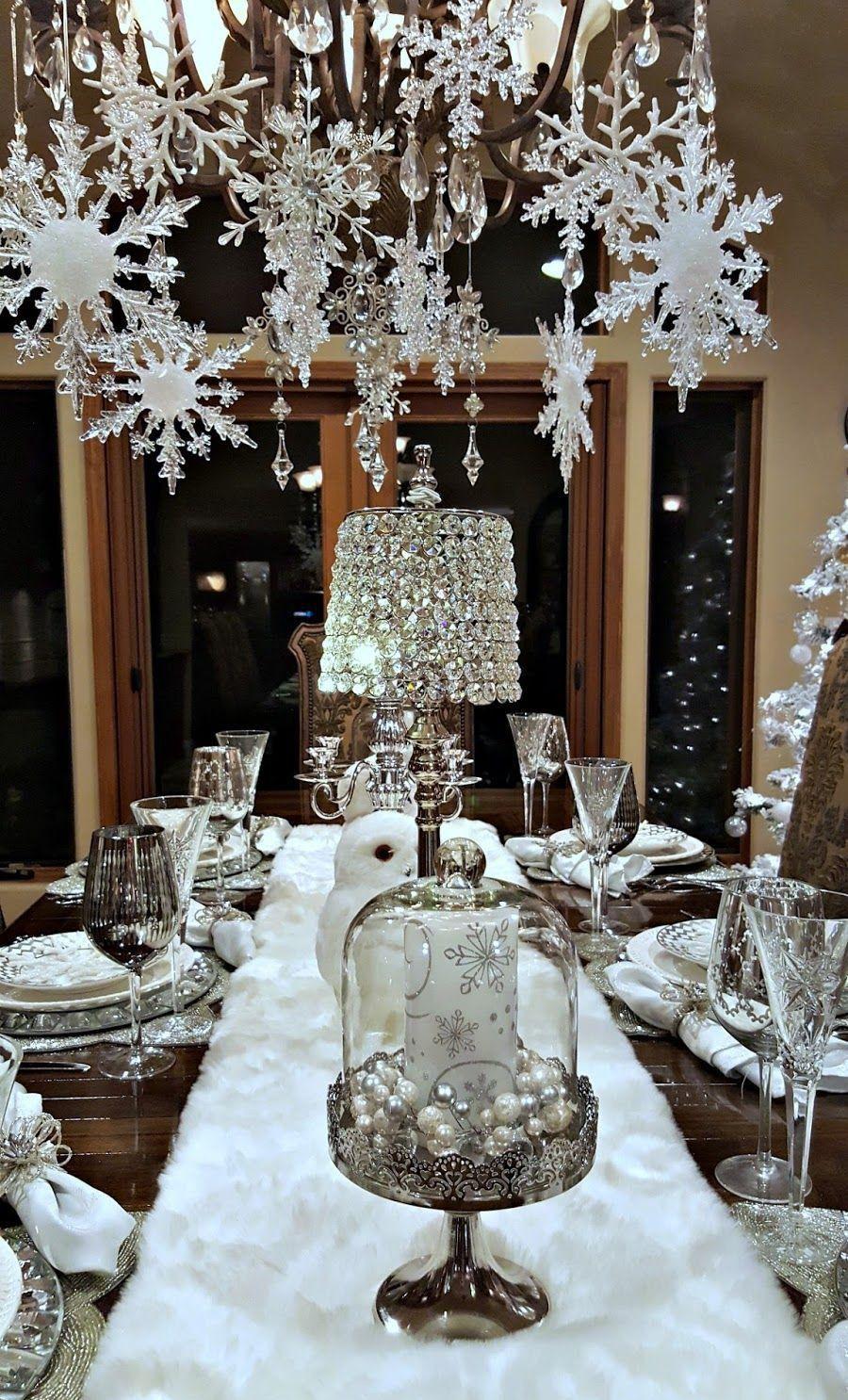 Winter Wonderland Tablescape Christmas Chandelier Christmas Centerpieces Christmas Table Decorations
