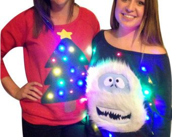 womans ugly christmas sweater christmas tree lights up off