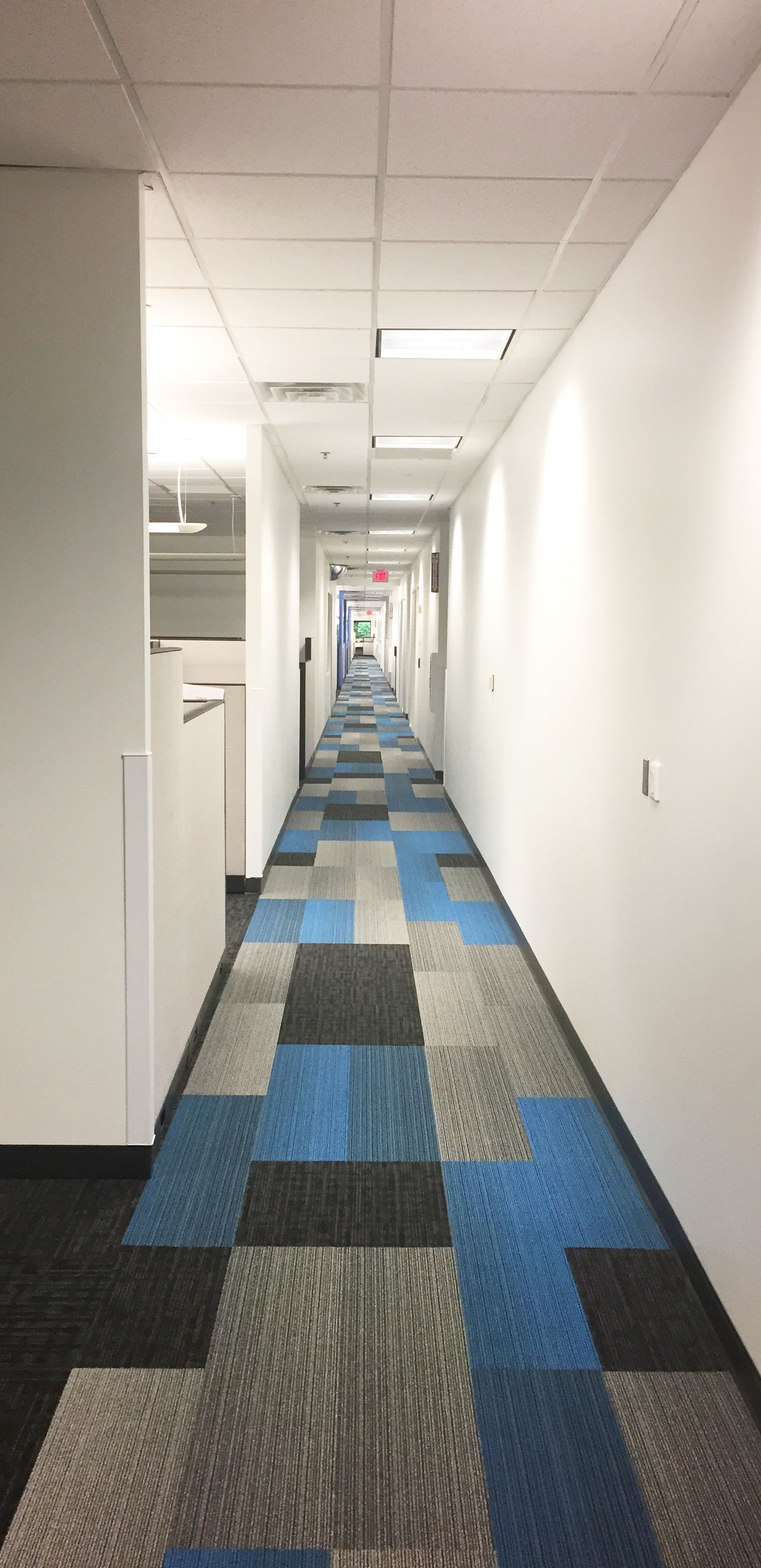 Carpet Installation In Commercial Office Hallway Designed By